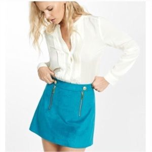 ISO Express Teal Suede Skirt with Gold Buttons